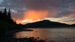 Peach rain at sunset Stock Footage