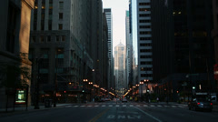 Stock Video Footage of chicago downtown lasalle street at dusk