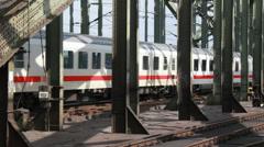 International train on Cologne railway bridge Stock Footage