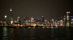 Chicago skyline night pan left Stock Footage