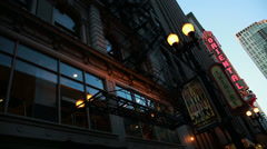 chicago downtown theatre district pan - stock footage