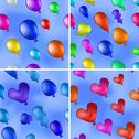 Stock Illustration of Balloons in sky, seamless, set