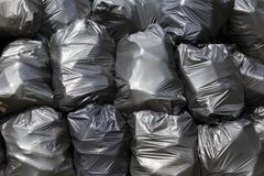 black trash bags - stock photo