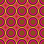 Vibrant warm color circles seamless abstract pattern. Stock Illustration