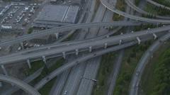 Aerial dusk view Interchange  Interstate 90, Seattle City, USA Stock Footage