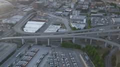 Aerial dusk view Interchange  Interstate 90, Seattle City, USA Stock Footage