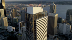 Aerial sunset view 2 Union Square Skyscraper, Seattle, USA Stock Footage