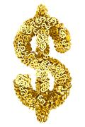 big dollar sign composed of many golden small dollar signs on white background - stock illustration