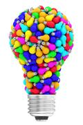 Lightbulb shape composed of many colorful small lightbulbs isolated on white Stock Illustration