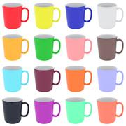 Set of colorful ceramic cups isolated on white Stock Illustration