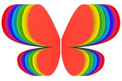 Butterfly shape symbol of rainbow colors on white background Stock Illustration
