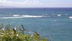Kiteboarder catching waves at Hookipa Maui Stock Footage