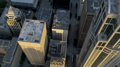 Aerial sunset overhead view 1201 Third Avenue, Seattle, USA Stock Footage