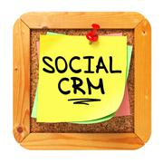 Stock Illustration of Social CRM. Yellow Sticker on Bulletin.