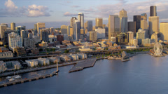 Aerial sunset view Waterfront Park Downtown Seattle, USA Stock Footage