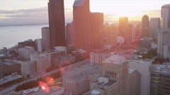 Aerial sunset view Columbia Center Downtown Seattle, USA - stock footage