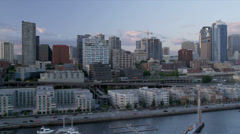 Aerial coastal view at sunset downtown Seattle Waterford Park, USA Stock Footage