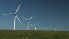 Flowers and grass wind turbines - stock footage