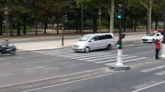 Traffic on Champs-Elysees, Paris, France (PARIS Champs-Elysees 1a) Stock Footage