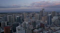 Aerial downtown dusk view of Seattle Business and Finance Centre, USA Stock Footage