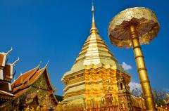 Golden temple wat phra that in doi suthep, chiang mai, thailand Stock Photos