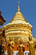 golden temple wat phra that in doi suthep, chiang mai, thailand - stock photo