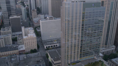 Aerial dusk view Business District Skyscrapers, Seattle, USA Stock Footage