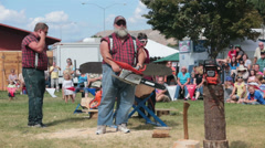Lumberjack show State Fair loud chainsaw HD 9658 - stock footage