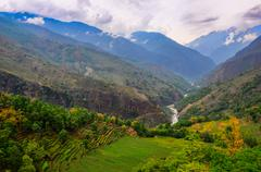 Tropical landscape mountain valley, annapurna area, nepal Stock Photos