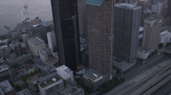 Aerial Downtown dusk view Columbia Centre Seattle, USA Stock Footage