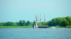Sailing ship at sunny summer day Stock Footage