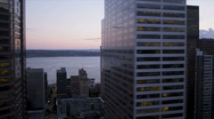 Aerial close up sunset view skyscrapers Seattle city transport system, USA - stock footage