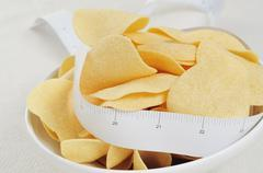 low fat potato chips - stock photo