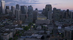 Aerial Skyscraper view  Downtown Seattle Cosmopolitan City, USA Stock Footage
