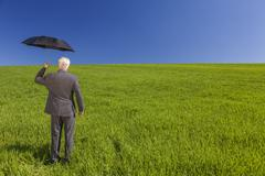 Businessman in a green field with an umbrella Stock Photos