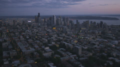 Aerial sunset view Seattle city skyscrapers Business Centre, USA Stock Footage