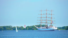 Sailing ship on Oder River Poland Stock Footage