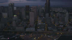 Aerial Downtown dusk view Columbia Centre district, Seattle, USA Stock Footage