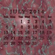 Stone calendar 2014, july Stock Illustration
