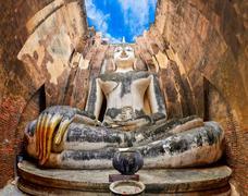 sitting budha in wat si chum temple in sukhothai, thailand - stock photo