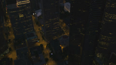 Aerial dusk view of illuminated downtown Columbia Centre, Seattle, USA Stock Footage
