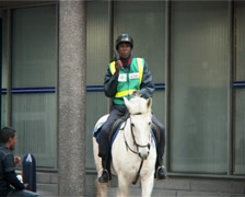 Security Officer on Horseback in city PAL - stock footage