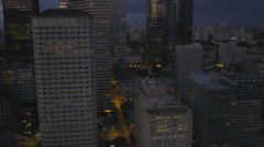 Aerial dusk illuminated view downtown Seattle Business  Finance Center, USA Stock Footage