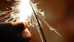 Burning sparkler Stock Footage