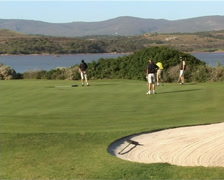 Stock Video Footage of Golfers putting on green PAL