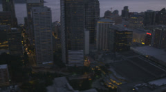 Aerial dusk view of illuminated downtown Seattle Business offices, USA Stock Footage