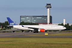 sas scandinavian airlines airbus a330-300 - stock photo