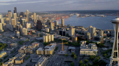 Aerial sunset view Seattle Space Needle Elliot Bay, USA Stock Footage