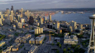 Stock Video Footage of Aerial sunset view Seattle Space Needle Elliot Bay, USA