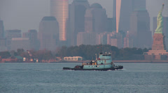 Tugboat Thomas D. Witte in New York Harbor 1 Stock Footage